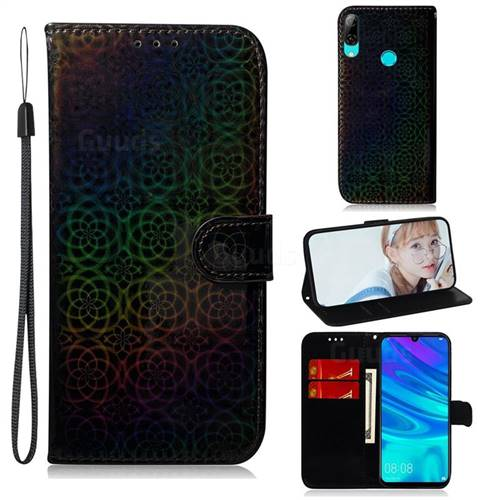 Laser Circle Shining Leather Wallet Phone Case for Huawei Honor 10 Lite - Black