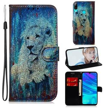 White Lion Laser Shining Leather Wallet Phone Case for Huawei Honor 10 Lite