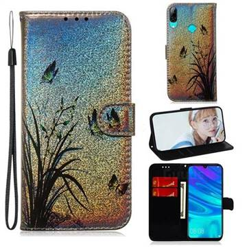 Butterfly Orchid Laser Shining Leather Wallet Phone Case for Huawei Honor 10 Lite