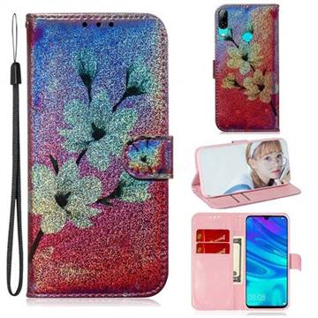 Magnolia Laser Shining Leather Wallet Phone Case for Huawei Honor 10 Lite