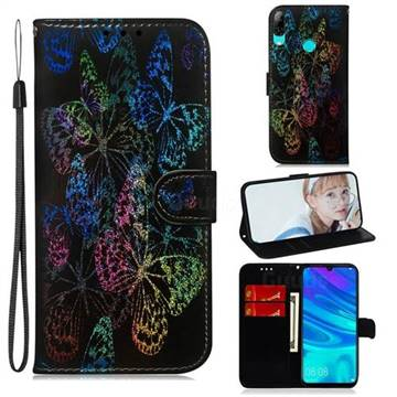 Black Butterfly Laser Shining Leather Wallet Phone Case for Huawei Honor 10 Lite