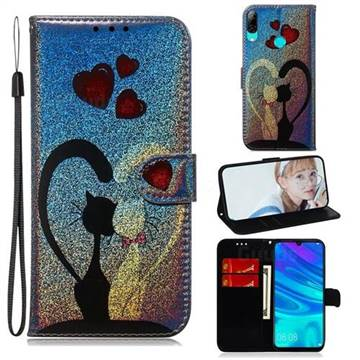 Love Cat Laser Shining Leather Wallet Phone Case for Huawei Honor 10 Lite