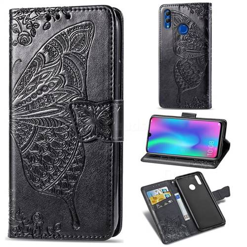 Embossing Mandala Flower Butterfly Leather Wallet Case for Huawei Honor 10 Lite - Black