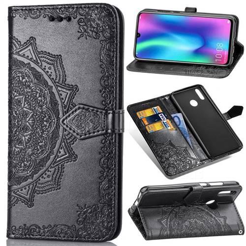 Embossing Imprint Mandala Flower Leather Wallet Case for Huawei Honor 10 Lite - Black