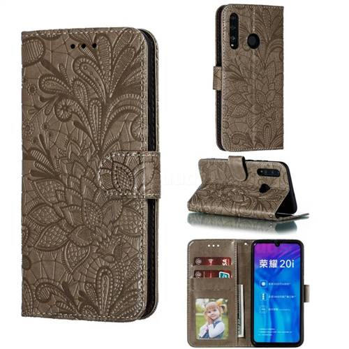 Intricate Embossing Lace Jasmine Flower Leather Wallet Case for Huawei Honor 10 Lite - Gray