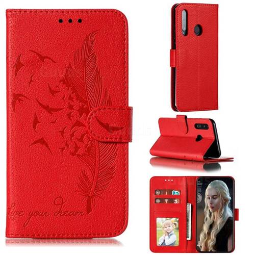 Intricate Embossing Lychee Feather Bird Leather Wallet Case for Huawei Honor 10 Lite - Red