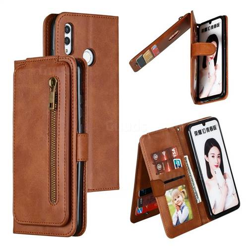 Multifunction 9 Cards Leather Zipper Wallet Phone Case for Huawei Honor 10 Lite - Brown