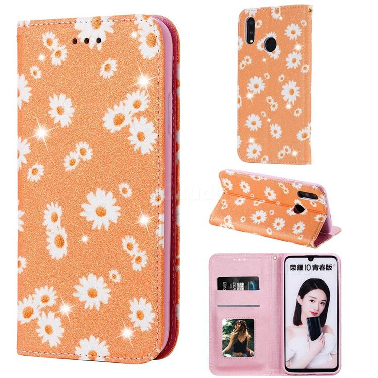 Ultra Slim Daisy Sparkle Glitter Powder Magnetic Leather Wallet Case for Huawei Honor 10 Lite - Orange