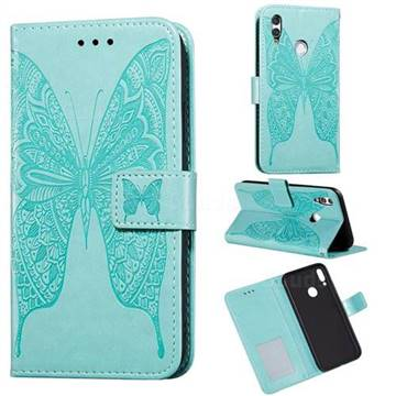 Intricate Embossing Vivid Butterfly Leather Wallet Case for Huawei Honor 10 Lite - Green