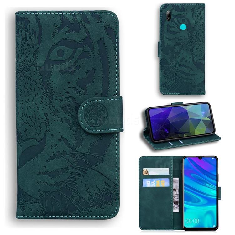Intricate Embossing Tiger Face Leather Wallet Case for Huawei Honor 10 Lite - Green