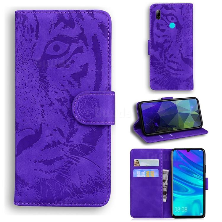 Intricate Embossing Tiger Face Leather Wallet Case for Huawei Honor 10 Lite - Purple