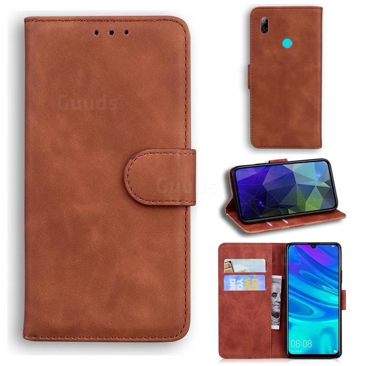 Retro Classic Skin Feel Leather Wallet Phone Case for Huawei Honor 10 Lite - Brown