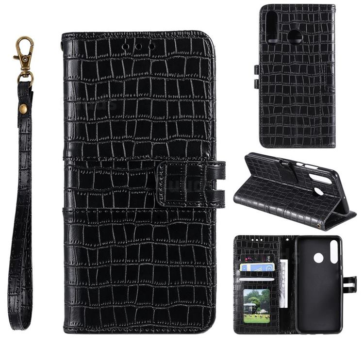 Luxury Crocodile Magnetic Leather Wallet Phone Case for Huawei Honor 10 Lite - Black