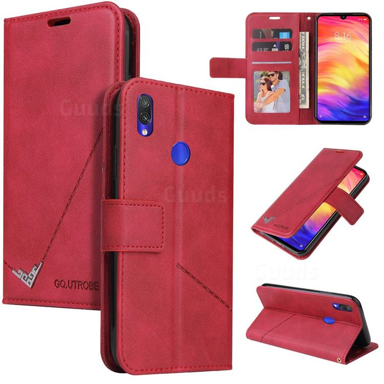 GQ.UTROBE Right Angle Silver Pendant Leather Wallet Phone Case for Huawei Honor 10 Lite - Red