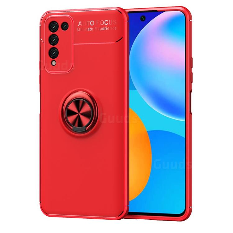 Auto Focus Invisible Ring Holder Soft Phone Case for Huawei Honor 10X Lite - Red