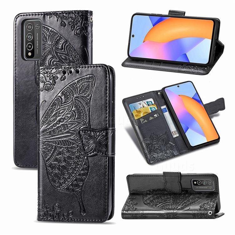 Embossing Mandala Flower Butterfly Leather Wallet Case for Huawei Honor 10X Lite - Black