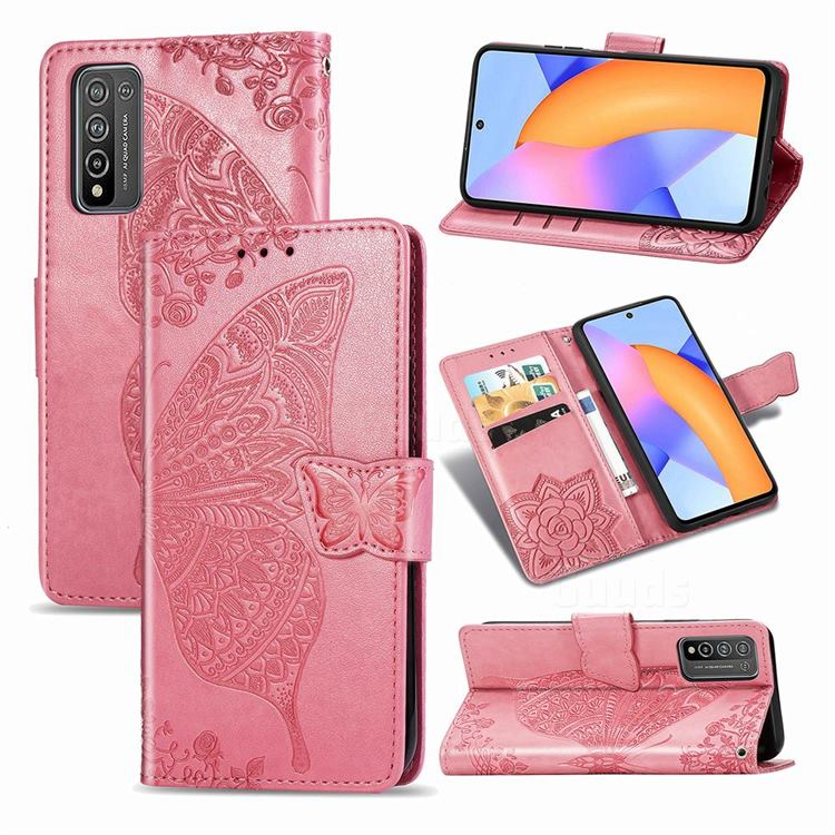 Embossing Mandala Flower Butterfly Leather Wallet Case for Huawei Honor 10X Lite - Pink