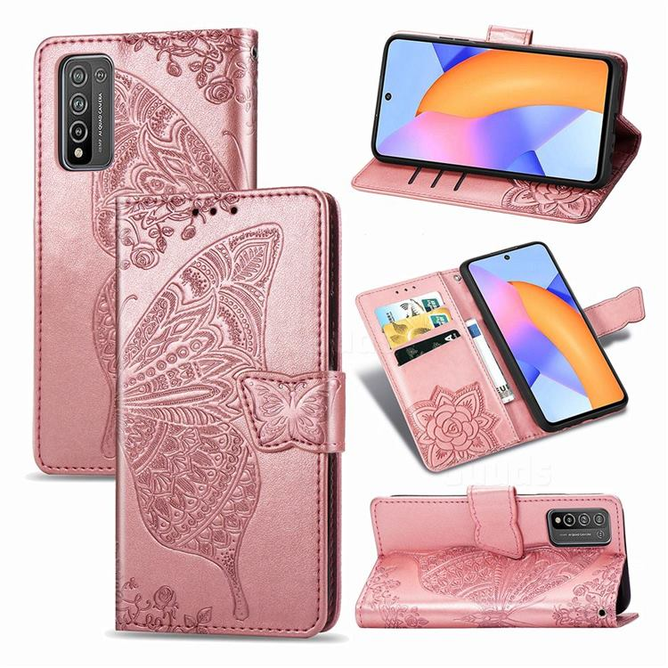 Embossing Mandala Flower Butterfly Leather Wallet Case for Huawei Honor 10X Lite - Rose Gold