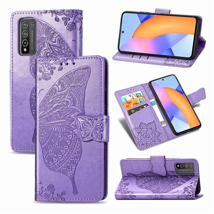 Embossing Mandala Flower Butterfly Leather Wallet Case for Huawei Honor 10X Lite - Light Purple