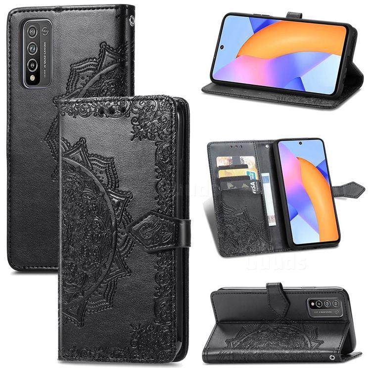 Embossing Imprint Mandala Flower Leather Wallet Case for Huawei Honor 10X Lite - Black