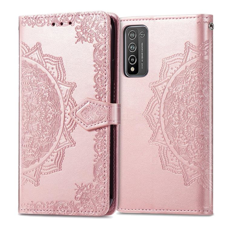 Embossing Imprint Mandala Flower Leather Wallet Case for Huawei Honor 10X Lite - Rose Gold