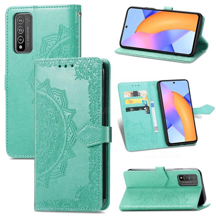 Embossing Imprint Mandala Flower Leather Wallet Case for Huawei Honor 10X Lite - Green