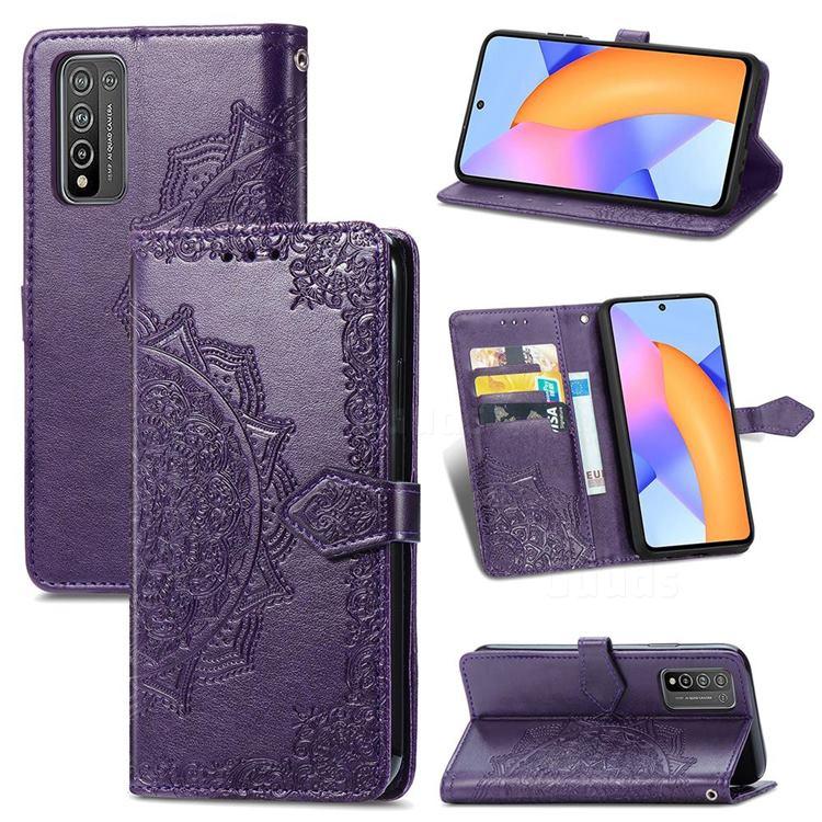 Embossing Imprint Mandala Flower Leather Wallet Case for Huawei Honor 10X Lite - Purple