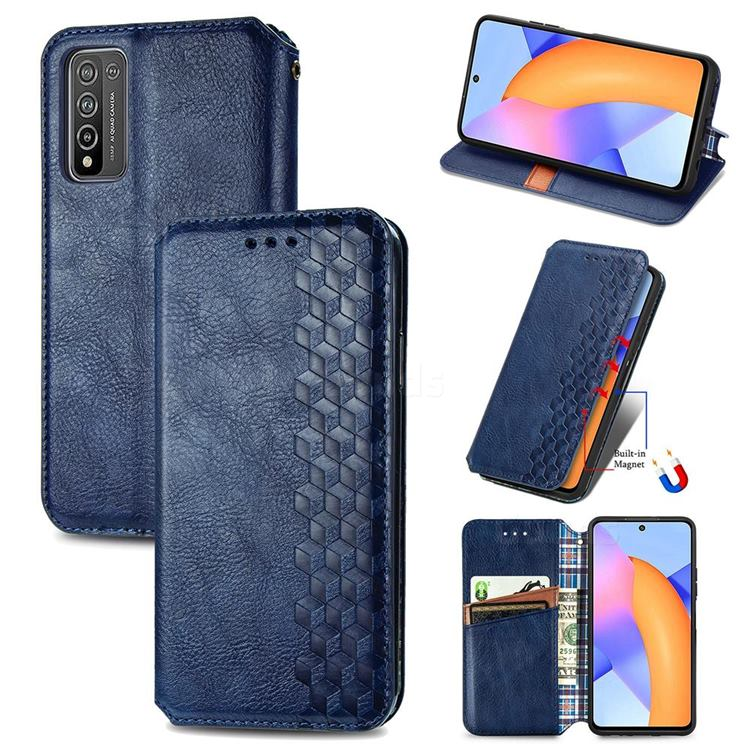 Ultra Slim Fashion Business Card Magnetic Automatic Suction Leather Flip Cover for Huawei Honor 10X Lite - Dark Blue