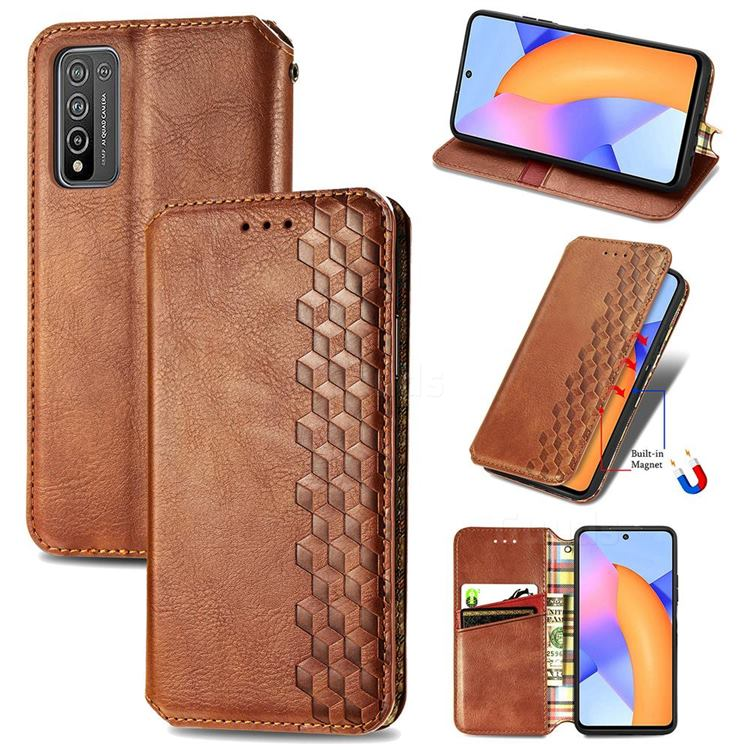 Ultra Slim Fashion Business Card Magnetic Automatic Suction Leather Flip Cover for Huawei Honor 10X Lite - Brown