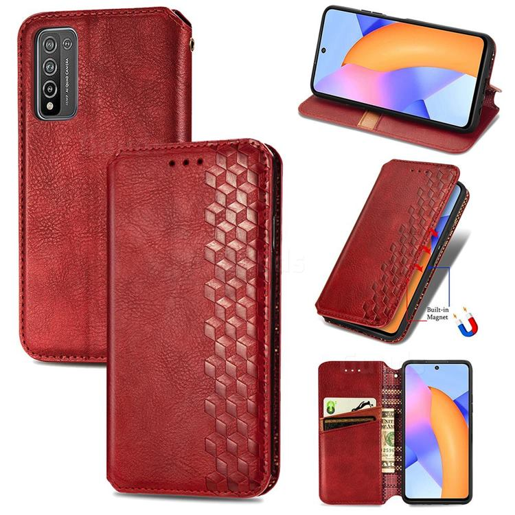 Ultra Slim Fashion Business Card Magnetic Automatic Suction Leather Flip Cover for Huawei Honor 10X Lite - Red