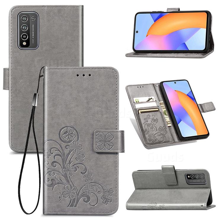 Embossing Imprint Four-Leaf Clover Leather Wallet Case for Huawei Honor 10X Lite - Grey