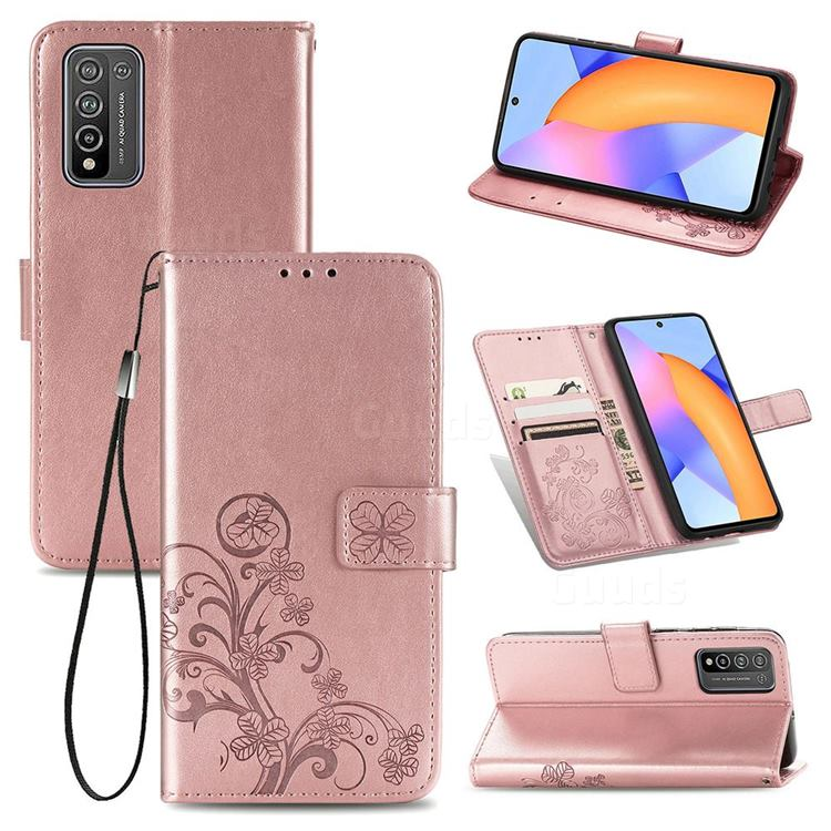 Embossing Imprint Four-Leaf Clover Leather Wallet Case for Huawei Honor 10X Lite - Rose Gold