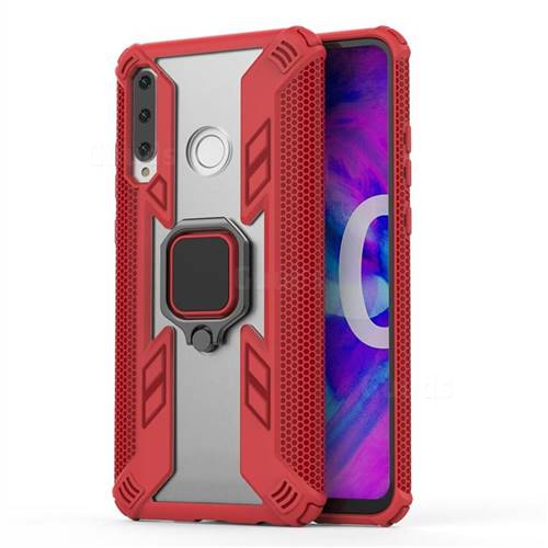 Predator Armor Metal Ring Grip Shockproof Dual Layer Rugged Hard Cover for Huawei Honor 10i - Red