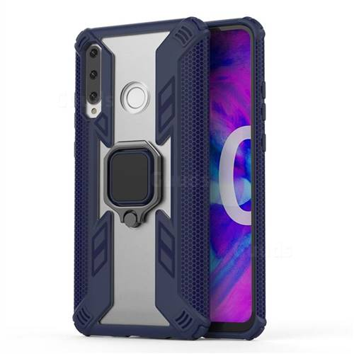 Predator Armor Metal Ring Grip Shockproof Dual Layer Rugged Hard Cover for Huawei Honor 10i - Blue