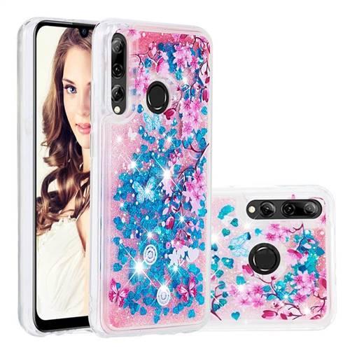 Blue Plum Blossom Dynamic Liquid Glitter Quicksand Soft TPU Case for Huawei Honor 10i