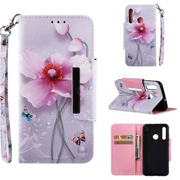 Pearl Flower Big Metal Buckle PU Leather Wallet Phone Case for Huawei Honor 10i