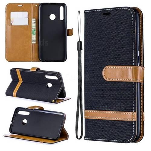 Jeans Cowboy Denim Leather Wallet Case for Huawei Honor 10i - Black