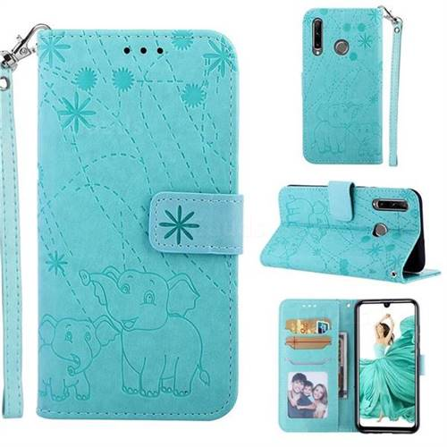 Embossing Fireworks Elephant Leather Wallet Case for Huawei Honor 10i - Green