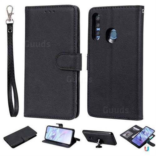 Retro Greek Detachable Magnetic PU Leather Wallet Phone Case for Huawei Honor 10i - Black