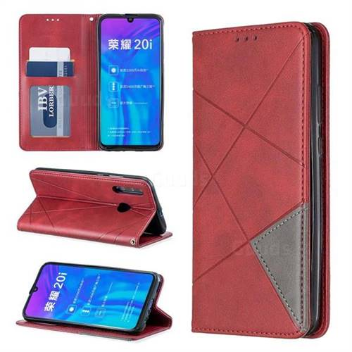 Prismatic Slim Magnetic Sucking Stitching Wallet Flip Cover for Huawei Honor 10i - Red