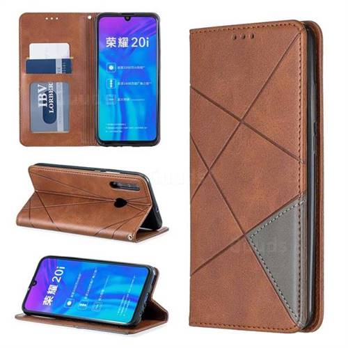 Prismatic Slim Magnetic Sucking Stitching Wallet Flip Cover for Huawei Honor 10i - Brown