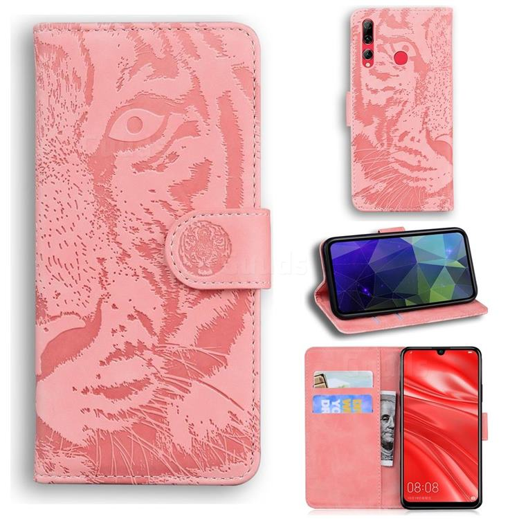 Intricate Embossing Tiger Face Leather Wallet Case for Huawei Honor 10i - Pink