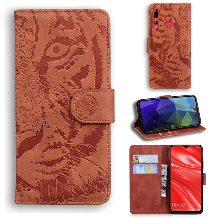 Intricate Embossing Tiger Face Leather Wallet Case for Huawei Honor 10i - Brown