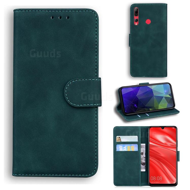 Retro Classic Skin Feel Leather Wallet Phone Case for Huawei Honor 10i - Green