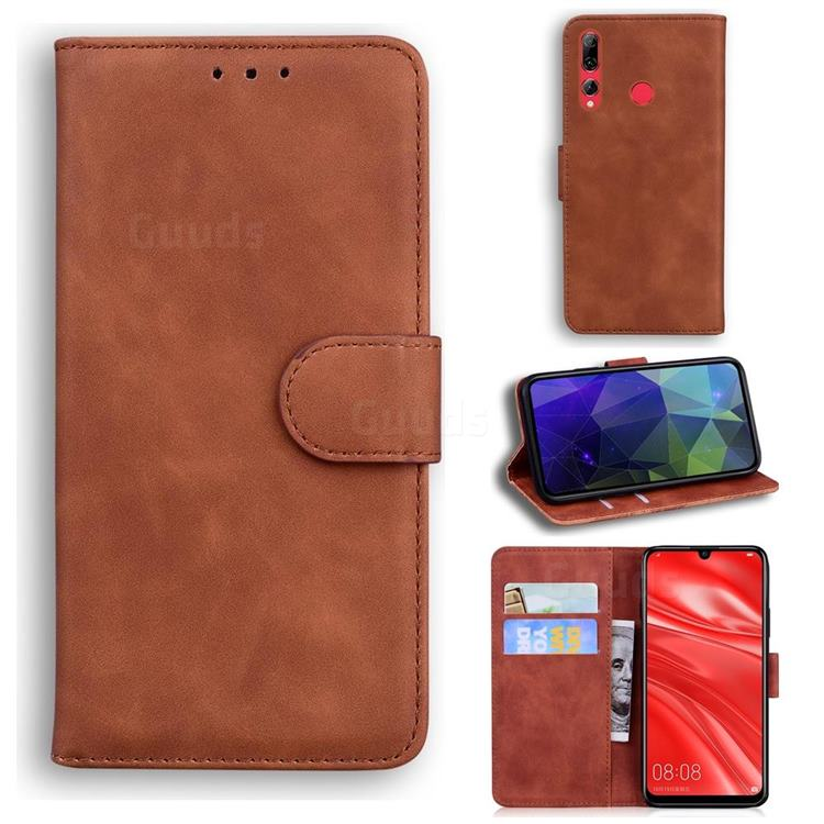 Retro Classic Skin Feel Leather Wallet Phone Case for Huawei Honor 10i - Brown