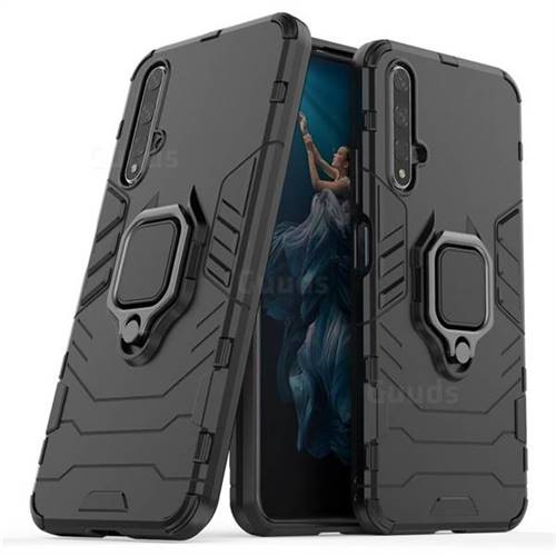 Black Panther Armor Metal Ring Grip Shockproof Dual Layer Rugged Hard Cover for Huawei Honor 20 - Black