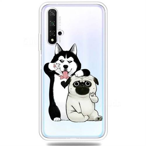 Selfie Dog Clear Varnish Soft Phone Back Cover for Huawei Honor 20