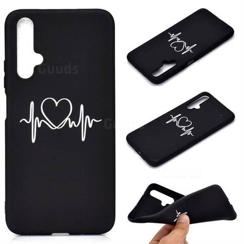 Heart Radio Wave Chalk Drawing Matte Black TPU Phone Cover for Huawei Honor 20