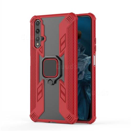 Predator Armor Metal Ring Grip Shockproof Dual Layer Rugged Hard Cover for Huawei Honor 20 - Red