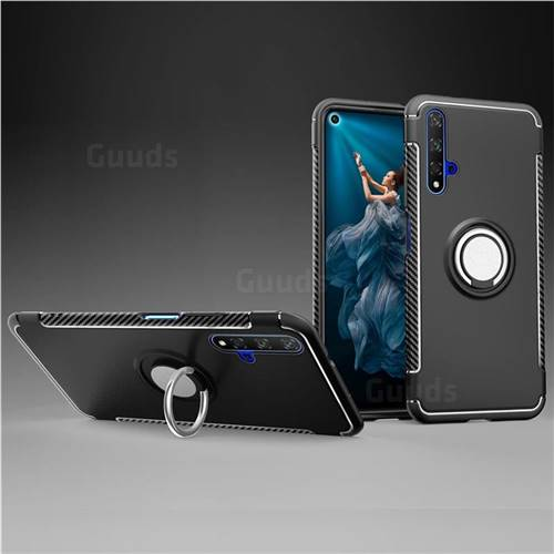 Armor Anti Drop Carbon PC + Silicon Invisible Ring Holder Phone Case for Huawei Honor 20 - Black
